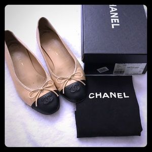 Authentic Chanel Ballet flats Beige/ Black 38 1/2